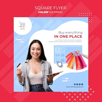Modelo de folheto quadrado para compras online