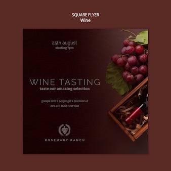Modelo de folheto quadrado para degustação de vinhos com uvas