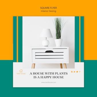 Modelo de folheto quadrado para design de interiores