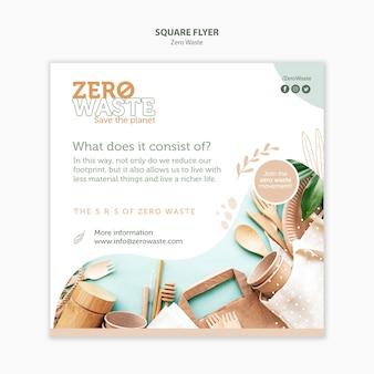 Modelo de folheto quadrado para estilo de vida zero desperdício