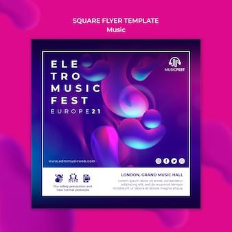 Modelo de folheto quadrado para festival de música eletro com formas de efeito líquido de néon