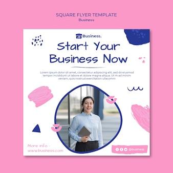 Modelo de folheto quadrado para iniciar negócios