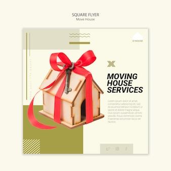 Modelo de folheto quadrado para mover serviços de casa