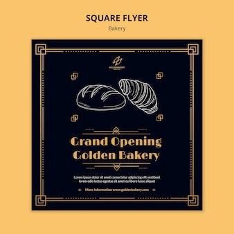 Modelo de folheto quadrado para padaria com quadro-negro desenhado à mão