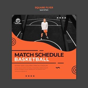 Modelo de folheto quadrado partida cronograma basquete