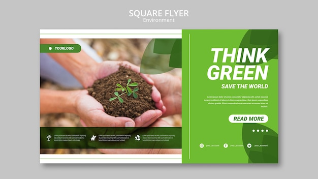 Modelo de folheto quadrado pessoas segurando terra com plantas