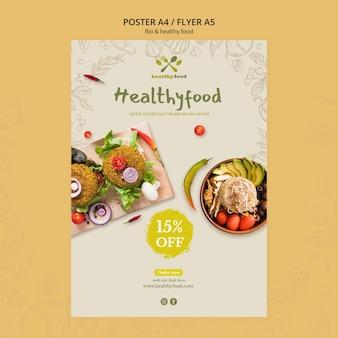 Modelo de folheto - restaurante com comida saudável