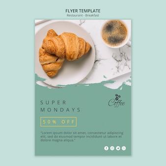 Modelo de folheto - restaurante de café da manhã