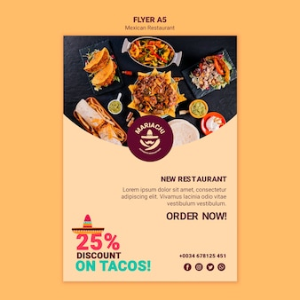 Modelo de folheto - restaurante de pratos tradicionais mexicanos