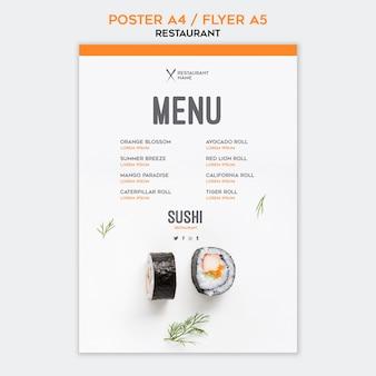 Modelo de folheto restaurante de sushi