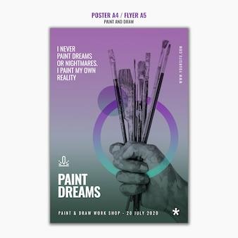 Modelo de folheto - sonhos de pintura