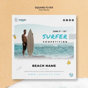 Modelo de folheto - surfista