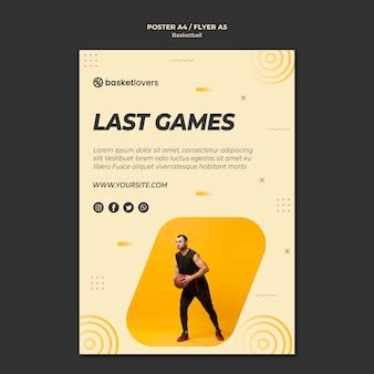 Modelo de folheto - últimos jogos de basquete
