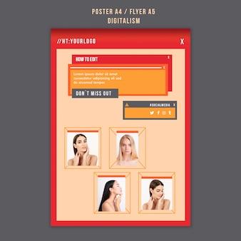 Modelo de folheto vertical de digitalismo com foto