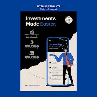 Modelo de folheto vertical de investimento em plataforma