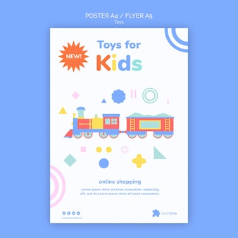 Modelo de folheto vertical para compras online de brinquedos infantis