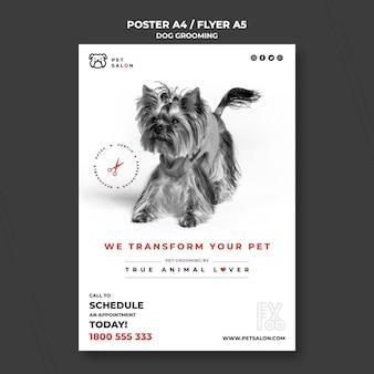 Modelo de folheto vertical para empresa de cuidados com animais de estimação
