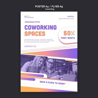 Modelo de folheto vertical para espaço de coworking