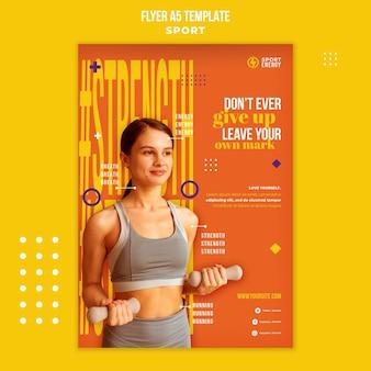 Modelo de folheto vertical para esporte com citações motivacionais