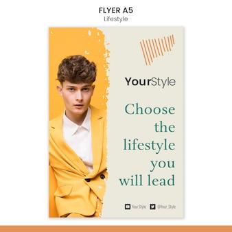 Modelo de folheto vertical para estilo de vida pessoal