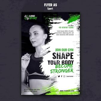 Modelo de folheto vertical para exercícios e treinamento de ginástica