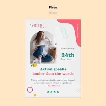 Modelo de folheto vertical para influenciadora feminina nas redes sociais