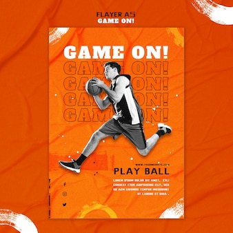 Modelo de folheto vertical para jogar basquete