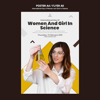 Modelo de folheto vertical para mulheres e meninas internacionais no dia da ciência