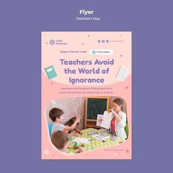 Modelo de folheto vertical para o dia do professor