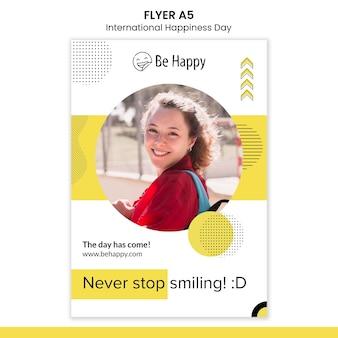 Modelo de folheto vertical para o dia internacional da felicidade