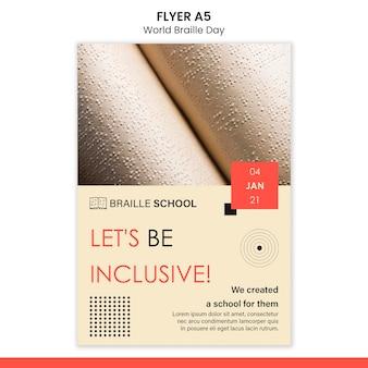 Modelo de folheto vertical para o dia mundial do braille