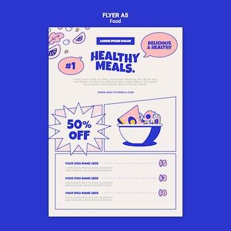 Modelo de folheto vertical para refeições saudáveis