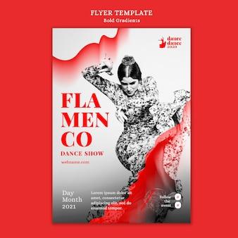 Modelo de folheto vertical para show de flamenco com dançarina