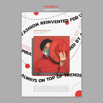 Modelo de folheto vertical para tendências da moda com mulher usando máscara facial