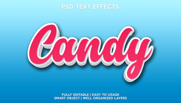 Modelo de fonte de texto com efeito de texto de doces