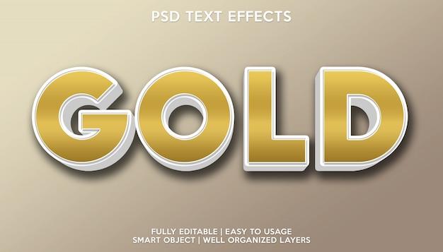 Modelo de fonte de texto com efeito de texto dourado