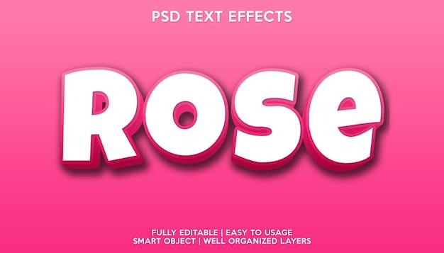 Modelo de fonte de texto com efeito de texto rosa