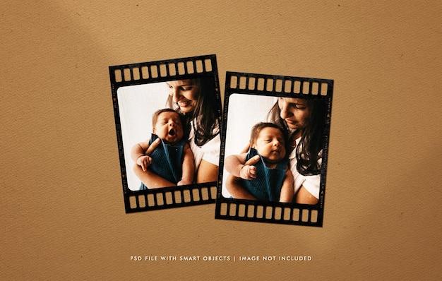Modelo de foto do quadro de filme de retrato de família