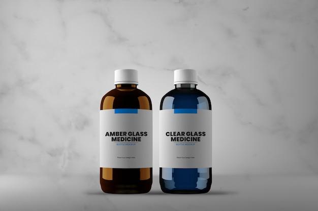 Modelo de frasco de medicamento de vidro âmbar e transparente