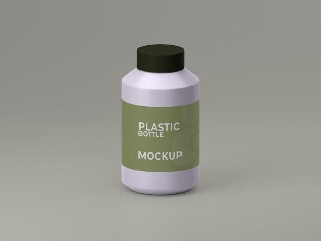 Modelo de frasco de suplemento de plástico renderizado 3d top vie