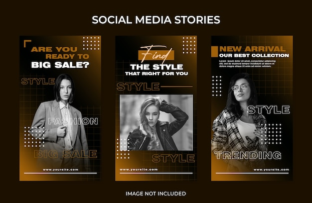 Modelo de grande venda de moda para histórias de mídia social no instagram