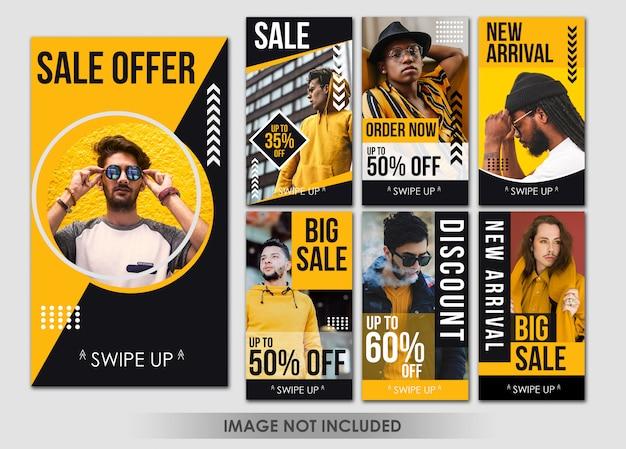 Modelo de história amarela moda mídia social