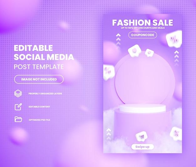 Modelo de história de instagram de mídia social de venda instantânea de compras on-line com podium premium psd