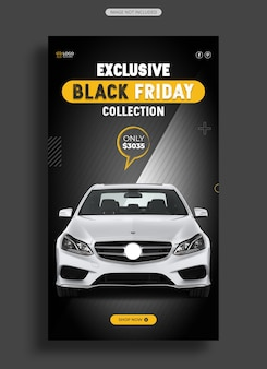 Modelo de história do instagram da black friday car sale