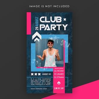Modelo de história do instagram de festa do clube
