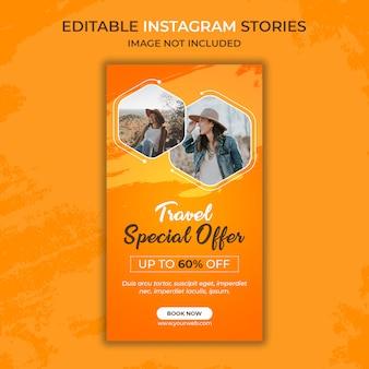Modelo de história do instagram de viagens