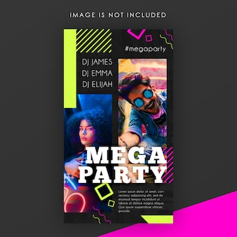 Modelo de história do instagram electro night party