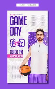 Modelo de história do instagram para a mídia social do jogo de basquete