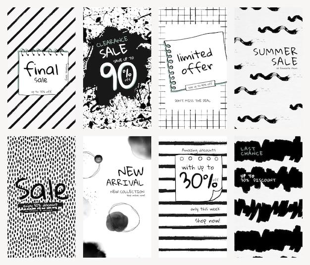 Modelo de história editável psd definido para mídia social com padrões de pincel de tinta para venda na loja e recém-chegados