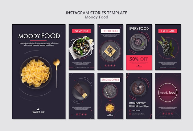 Modelo de histórias criativas de comida temperamental